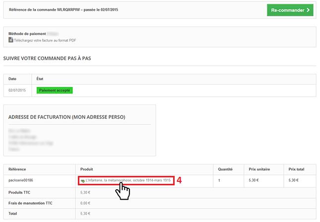 Etape 4 - Comment télécharger un packserie depuis son compte client ?